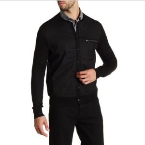 John Varvatos Collection Floated Cardigan in Black